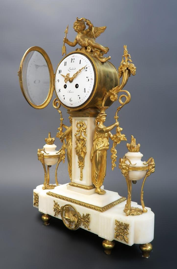French Napoleon III ormolu mounted marble clock set - 2