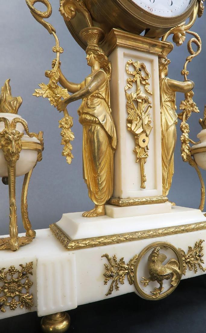 French Napoleon III ormolu mounted marble clock set - 5