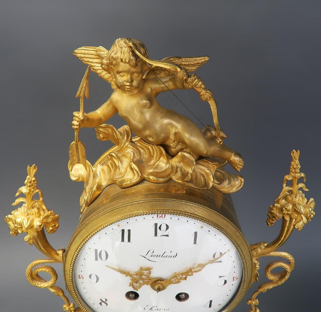 French Napoleon III ormolu mounted marble clock set - 6