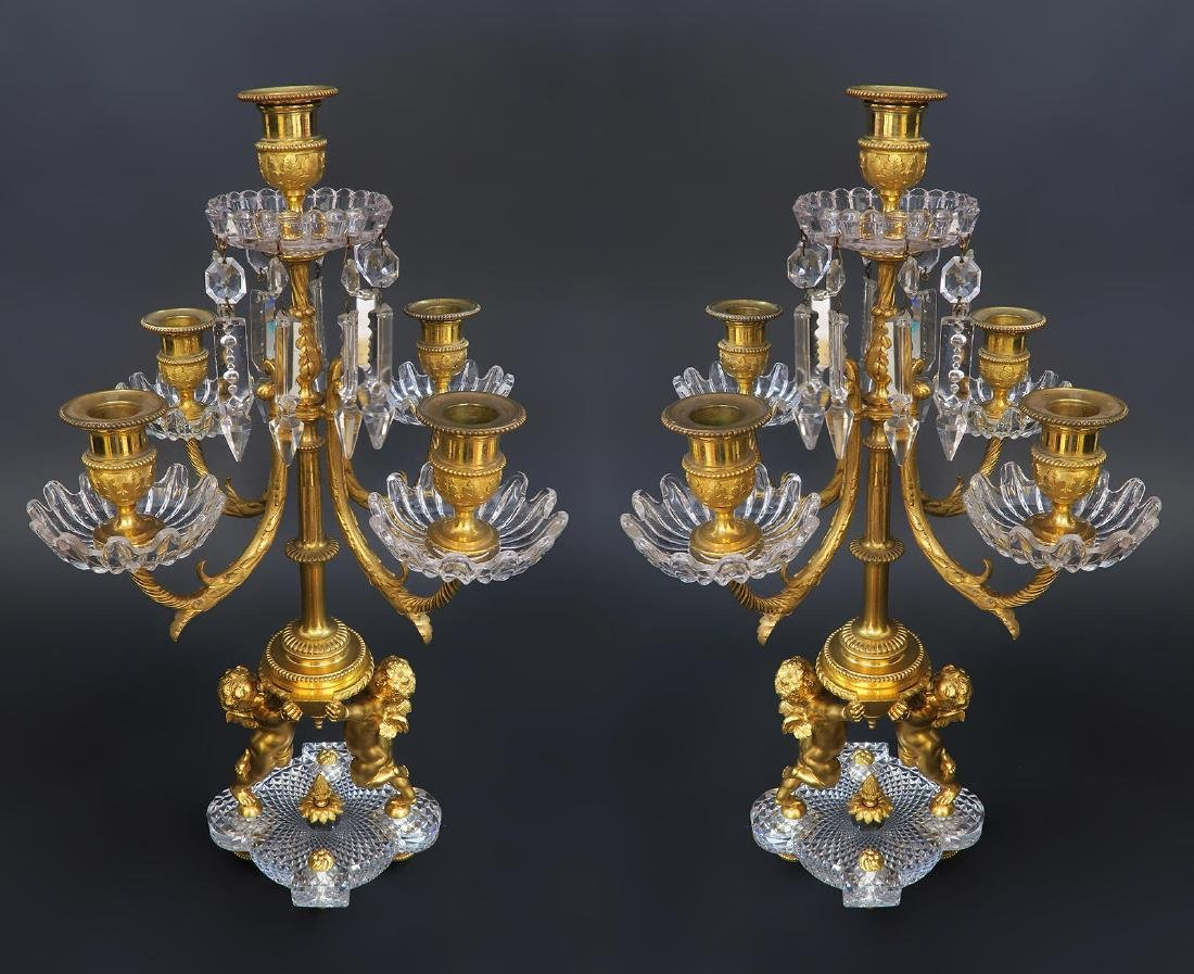 19th C. French Baccarat Figural 3 Pcs Garniture - 2