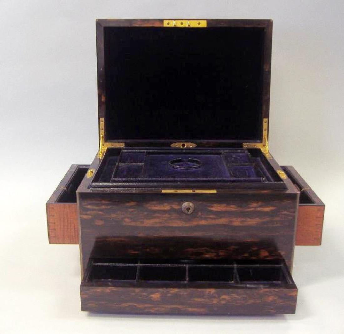Macassar ebony wood jewelry box, velvet fitted interior - 2