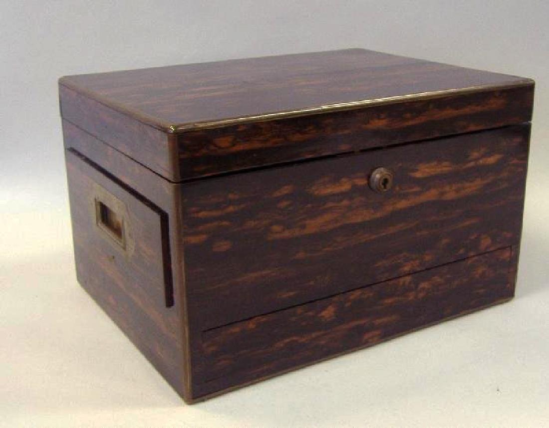 Macassar ebony wood jewelry box, velvet fitted interior - 3