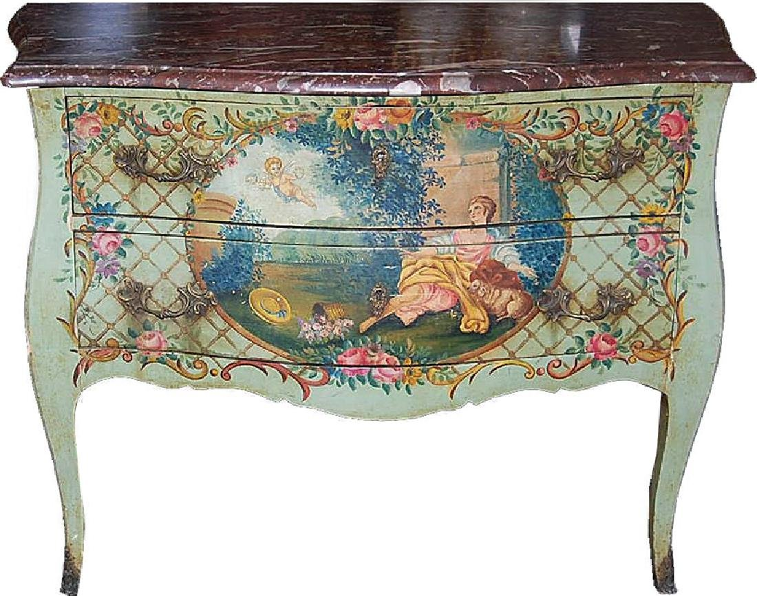 Late 19th C. French hand painted commode