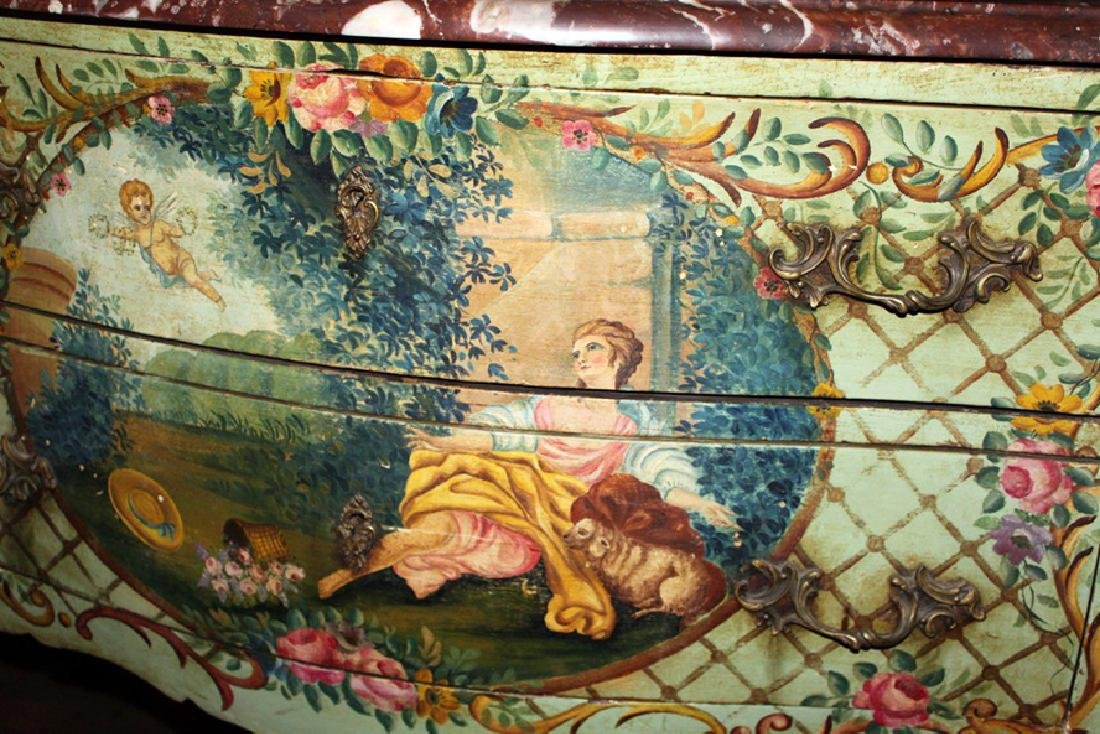 Late 19th C. French hand painted commode - 2