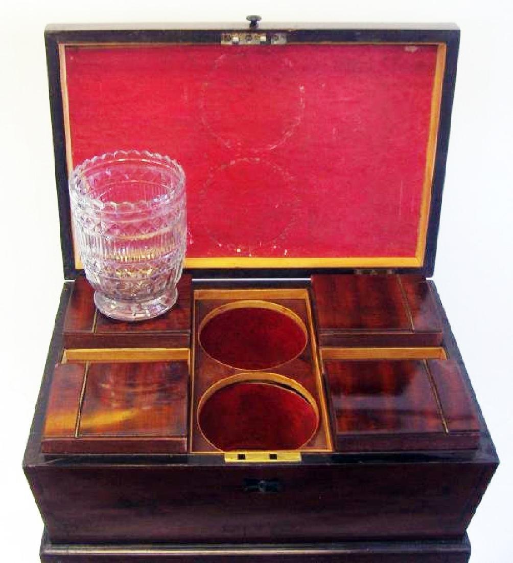English Regency mahogany teapoy with string inlay