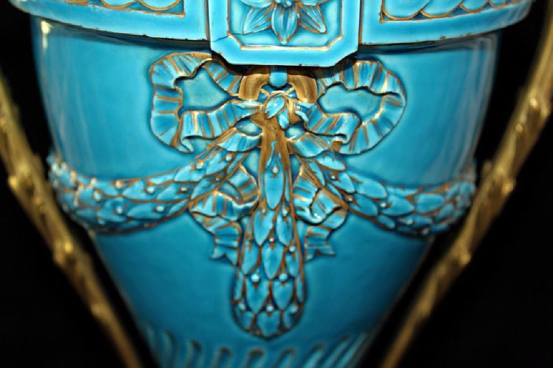 Glazed French Porcelain Turquoise Vase - 2