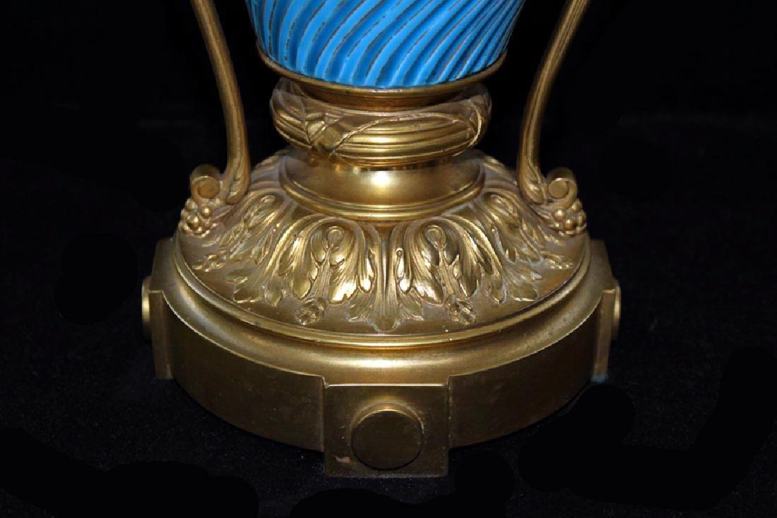 Glazed French Porcelain Turquoise Vase - 3