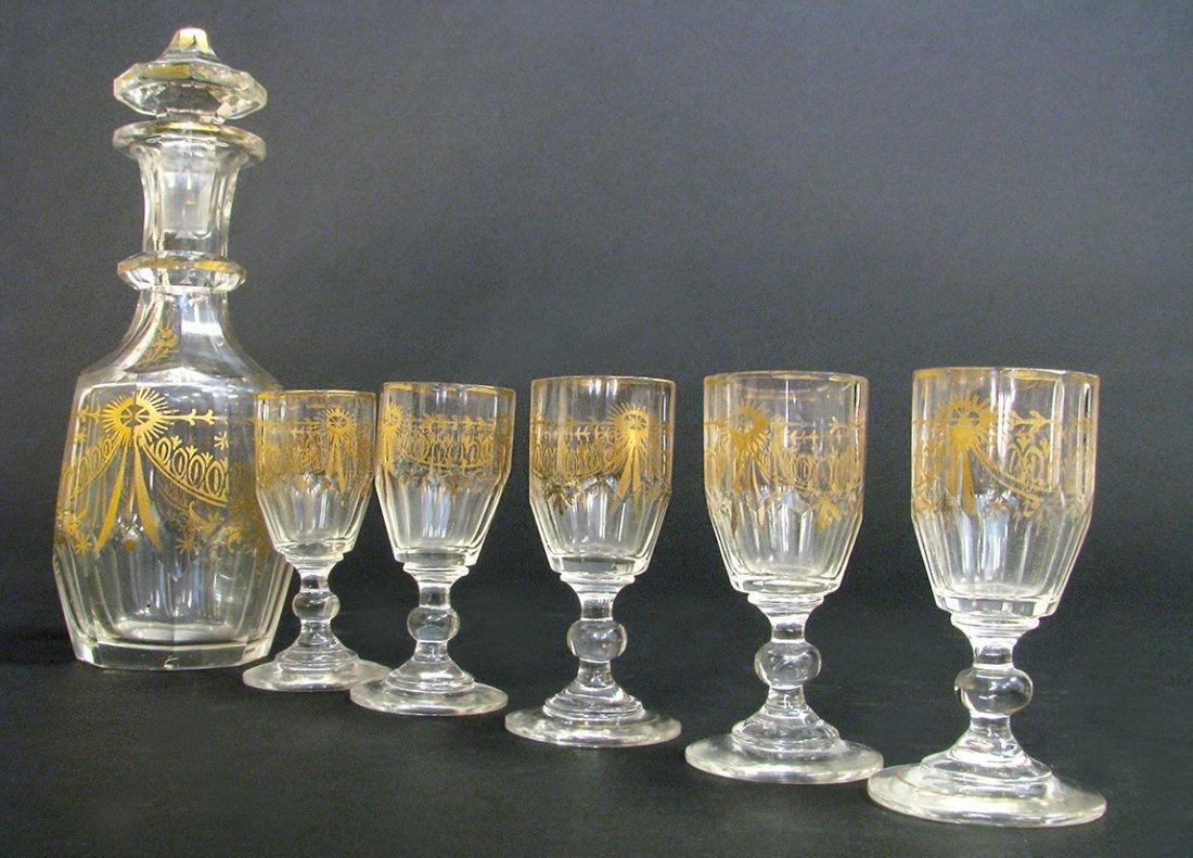 19th C. French Baccarat Crystal Liquor Set - 2