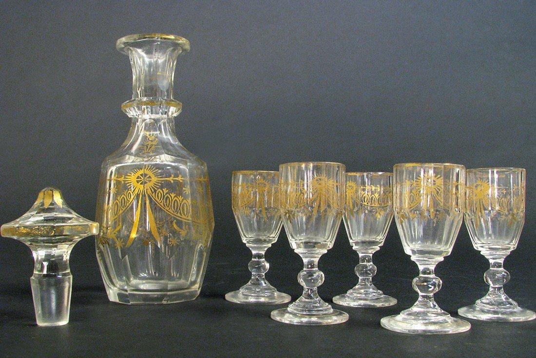 19th C. French Baccarat Crystal Liquor Set - 3