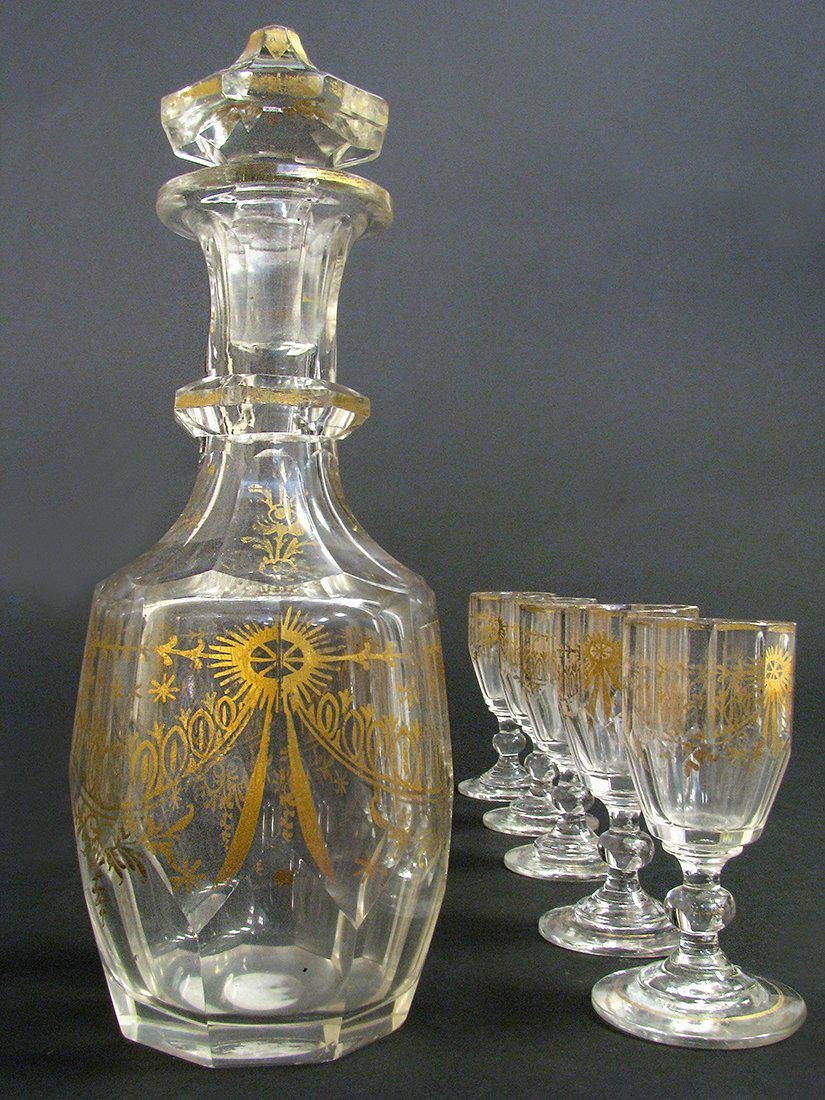 19th C. French Baccarat Crystal Liquor Set - 4