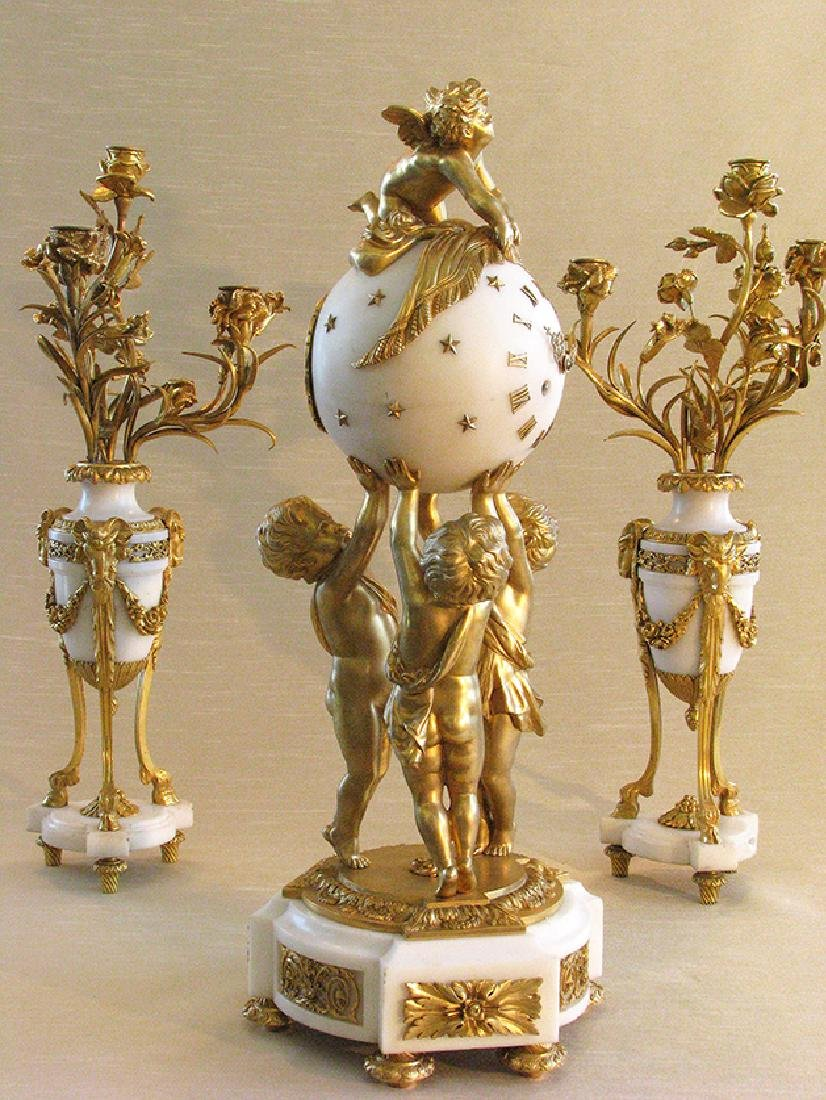 Magnificent French D'Ore Bronze & Marble Clock Set - 2