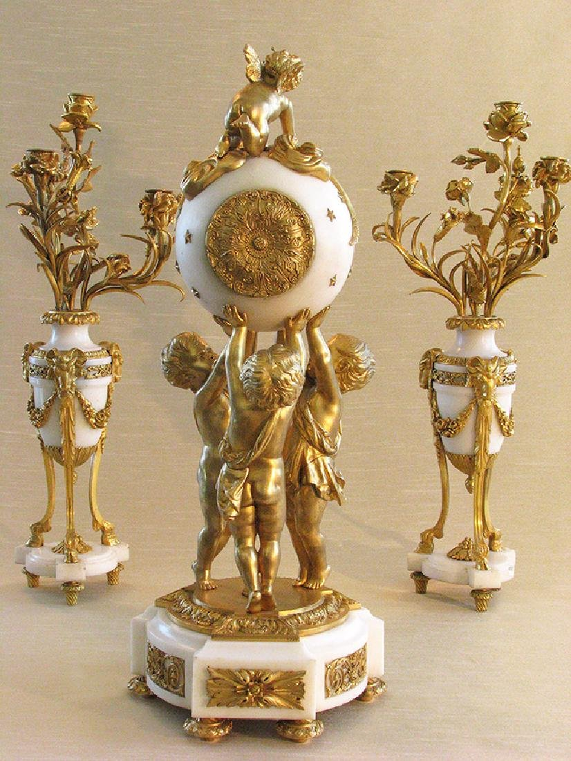 Magnificent French D'Ore Bronze & Marble Clock Set - 4