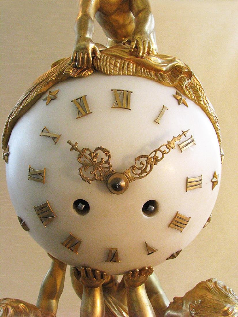 Magnificent French D'Ore Bronze & Marble Clock Set - 8