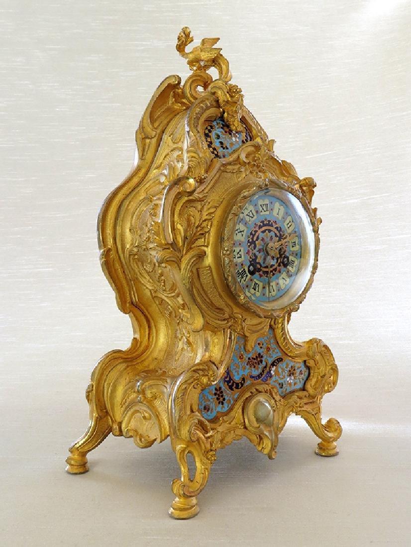 Elegant Champleve Enamel and Gilt Bronze Rococo Clock - 3