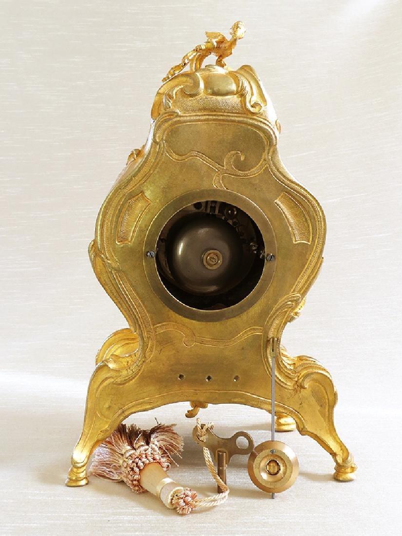 Elegant Champleve Enamel and Gilt Bronze Rococo Clock - 4