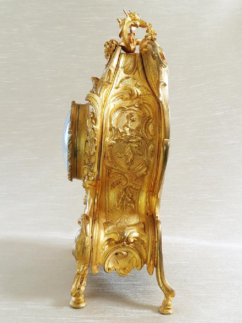 Elegant Champleve Enamel and Gilt Bronze Rococo Clock - 5