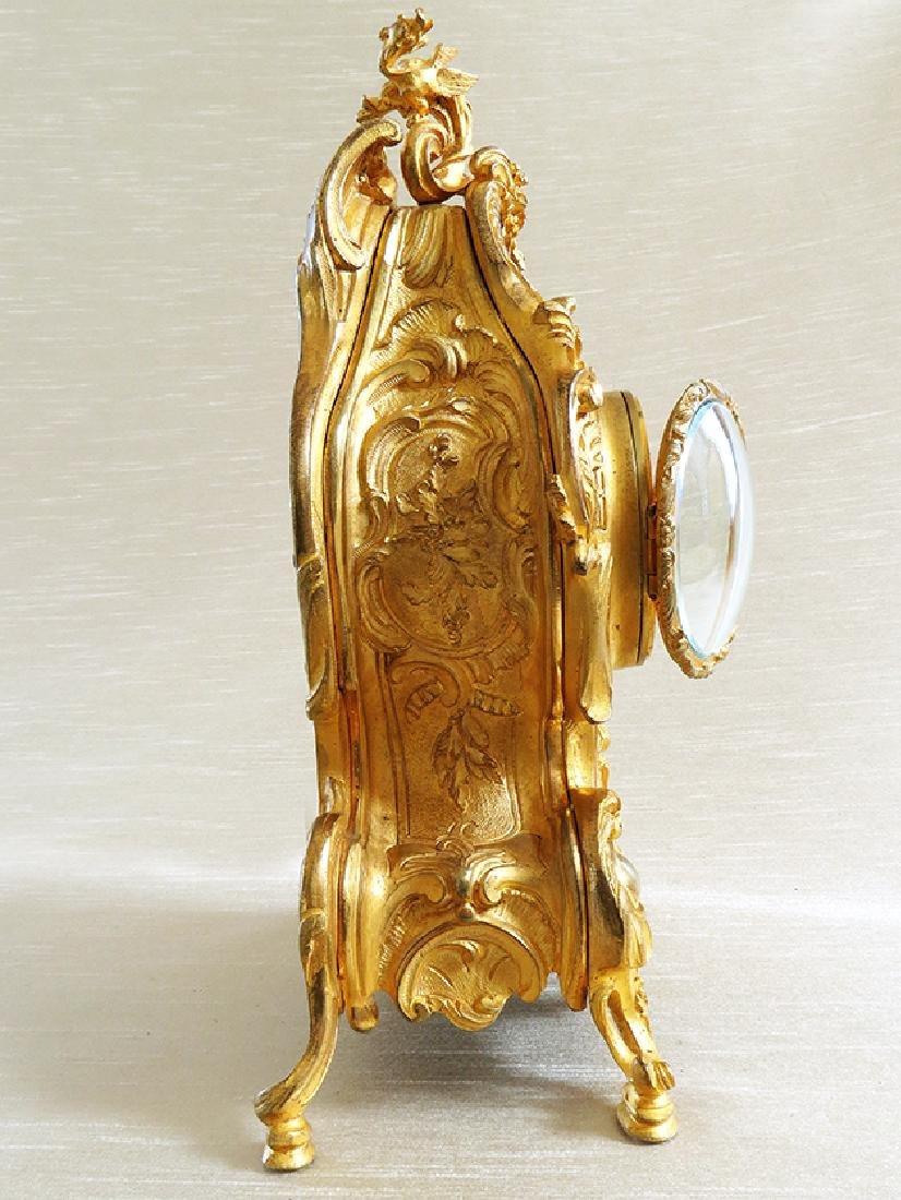 Elegant Champleve Enamel and Gilt Bronze Rococo Clock - 6