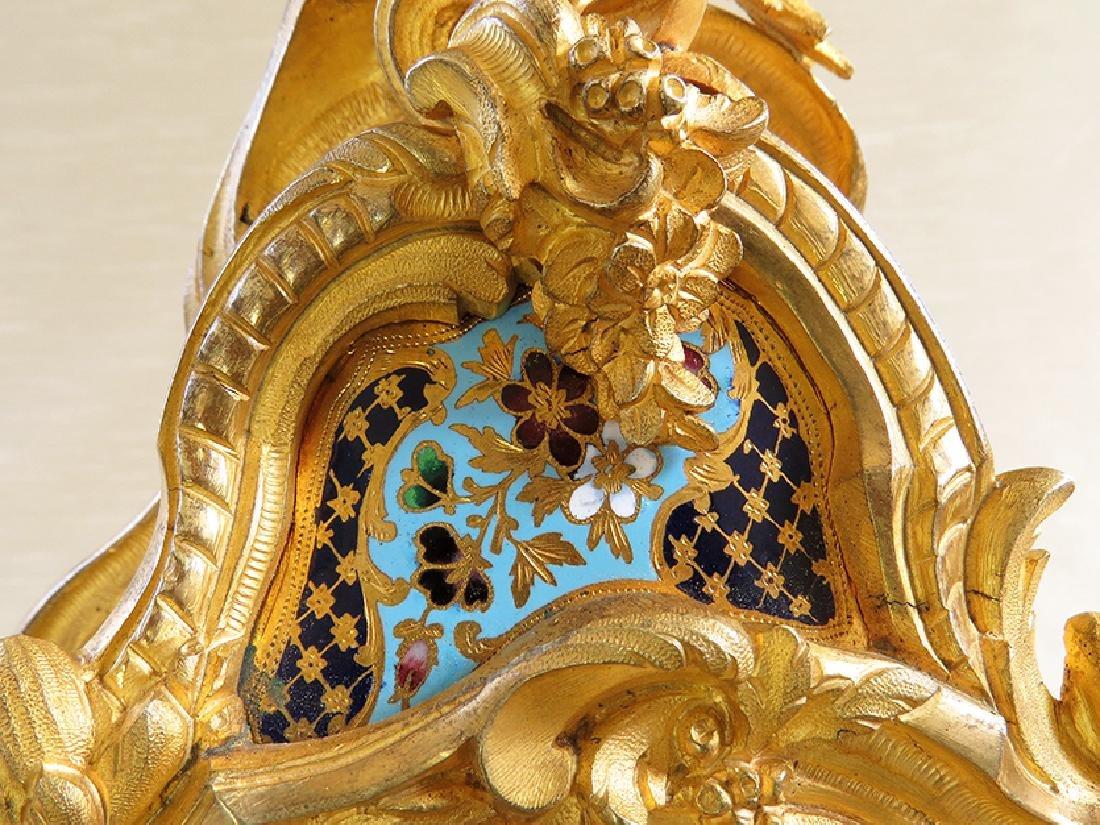 Elegant Champleve Enamel and Gilt Bronze Rococo Clock - 8