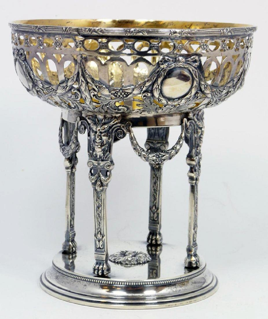 Antique Russian silver fully reticulated compote