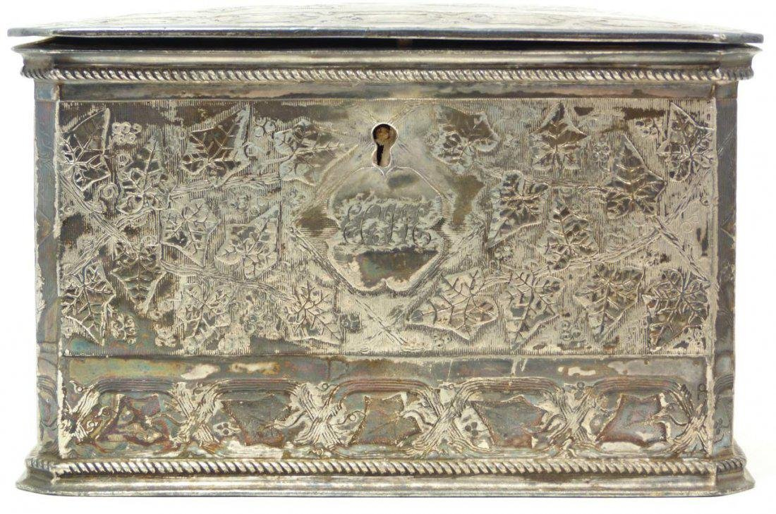 Antique English Silver Plate Tea Leaves Caddy - 2