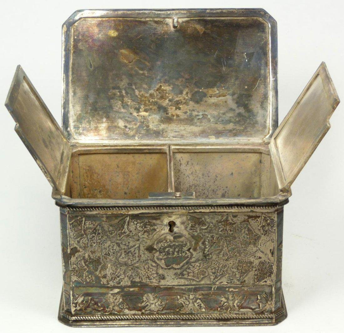 Antique English Silver Plate Tea Leaves Caddy - 4