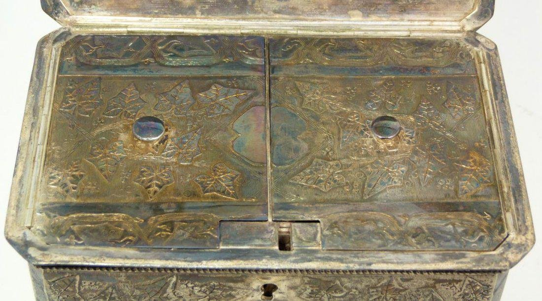Antique English Silver Plate Tea Leaves Caddy - 5