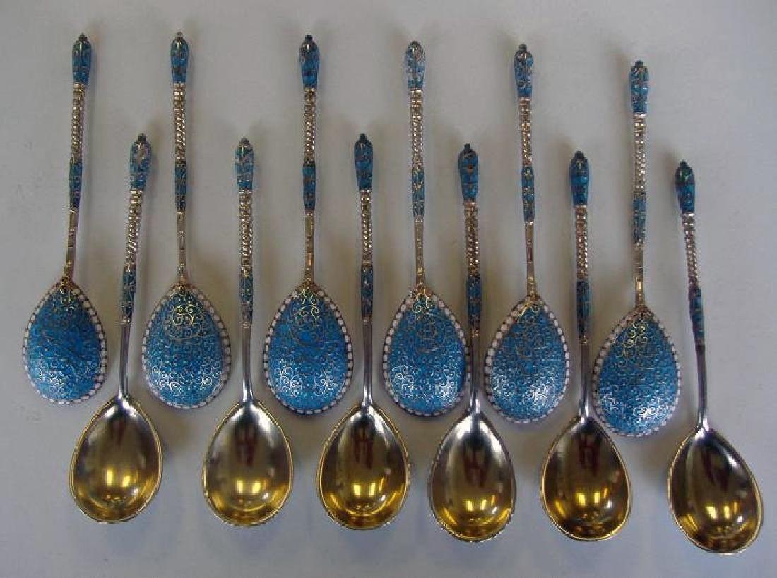 12 Russian Silver & Enamel Spoons, Gustav Klinger