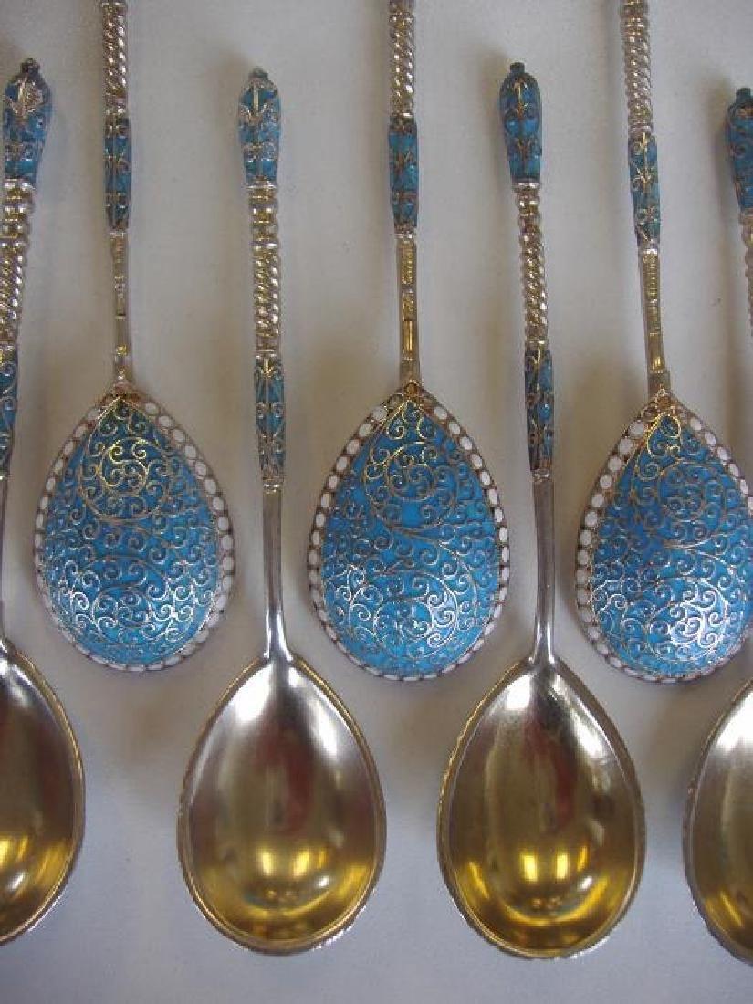 12 Russian Silver & Enamel Spoons, Gustav Klinger - 4