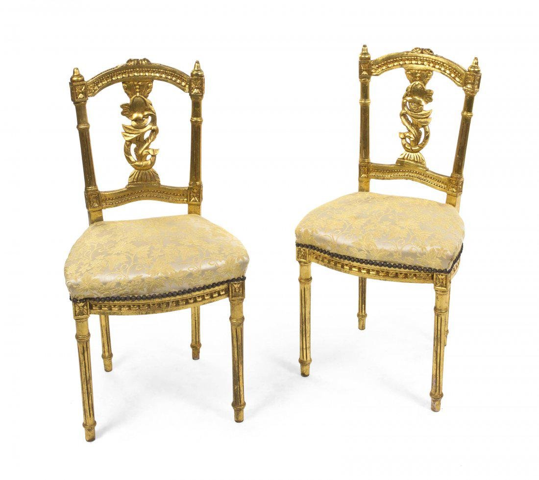 A Pair of Louis XVI Style Gilt wood Side Chairs