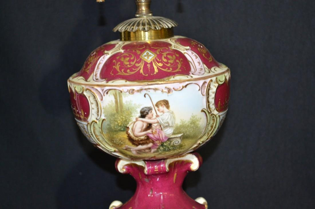 Fine Hand Painted Royal Vienna Lamp with romantic scene - 4