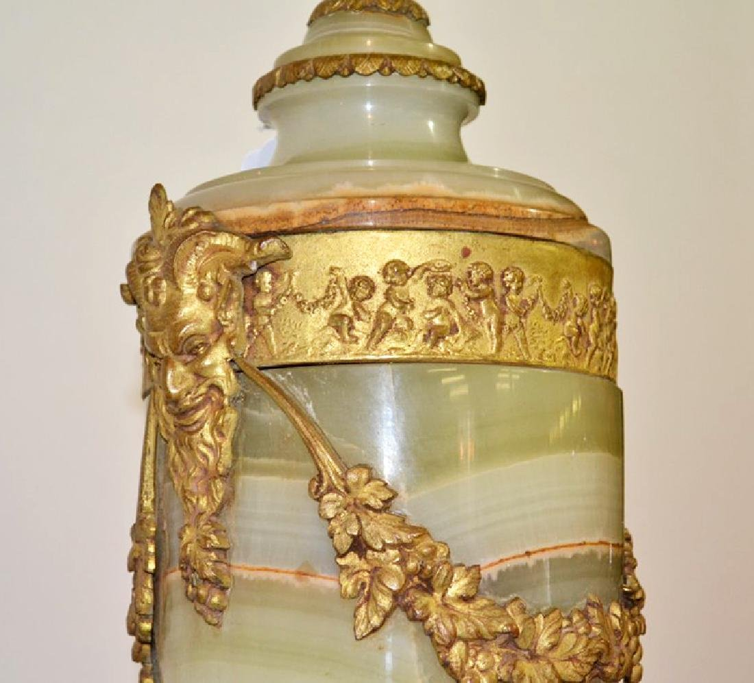 """ONYX URN FORM LAMP WITH DORE BRONZE MOUNTS - 21"""" - 3"""