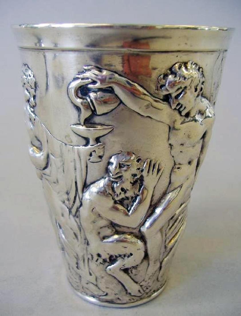 "German silver beaker, ""Hanau"" hallmarks signed"