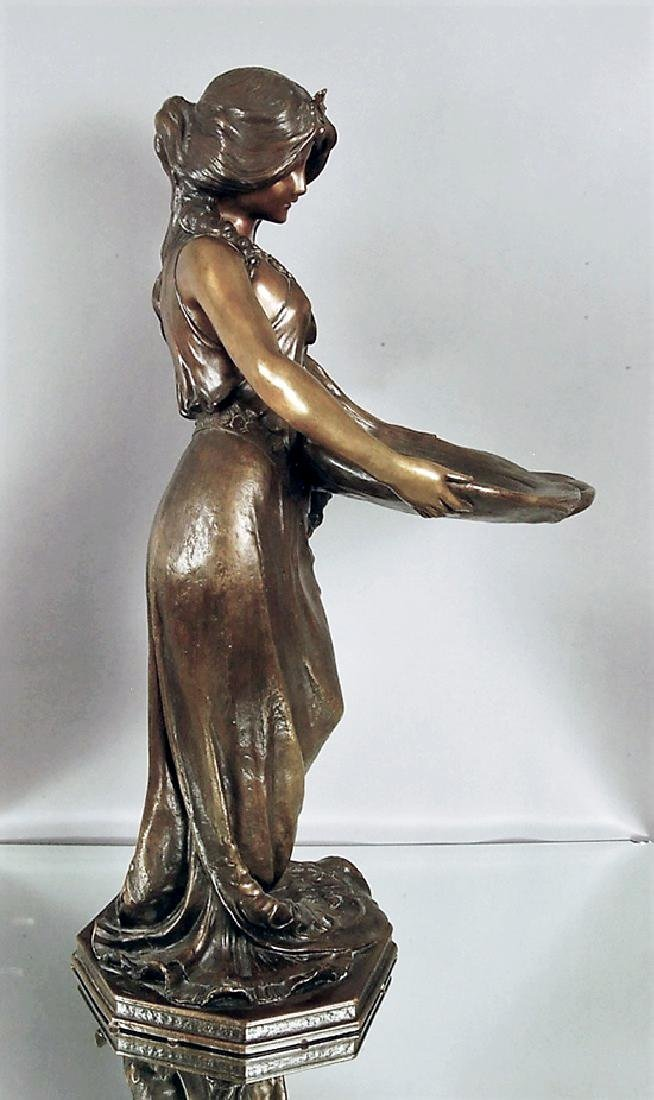 """""""Lady with a Tray"""" French Art Noveau Bronze statue - 2"""