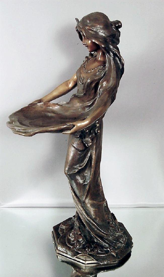 """""""Lady with a Tray"""" French Art Noveau Bronze statue - 3"""