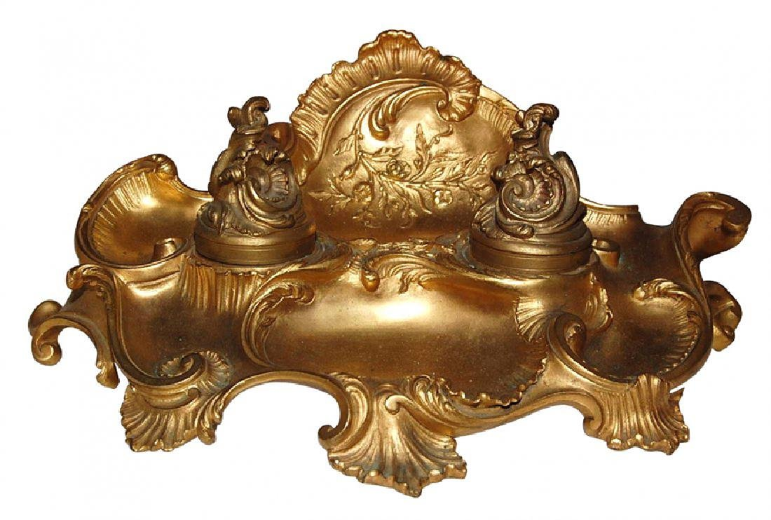 19th C. French Dore' Bronze Inkwell