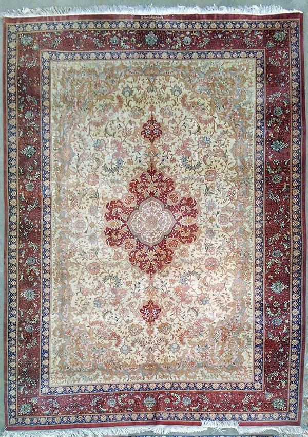 Signed Large Pure Silk Persian Rug from Qom