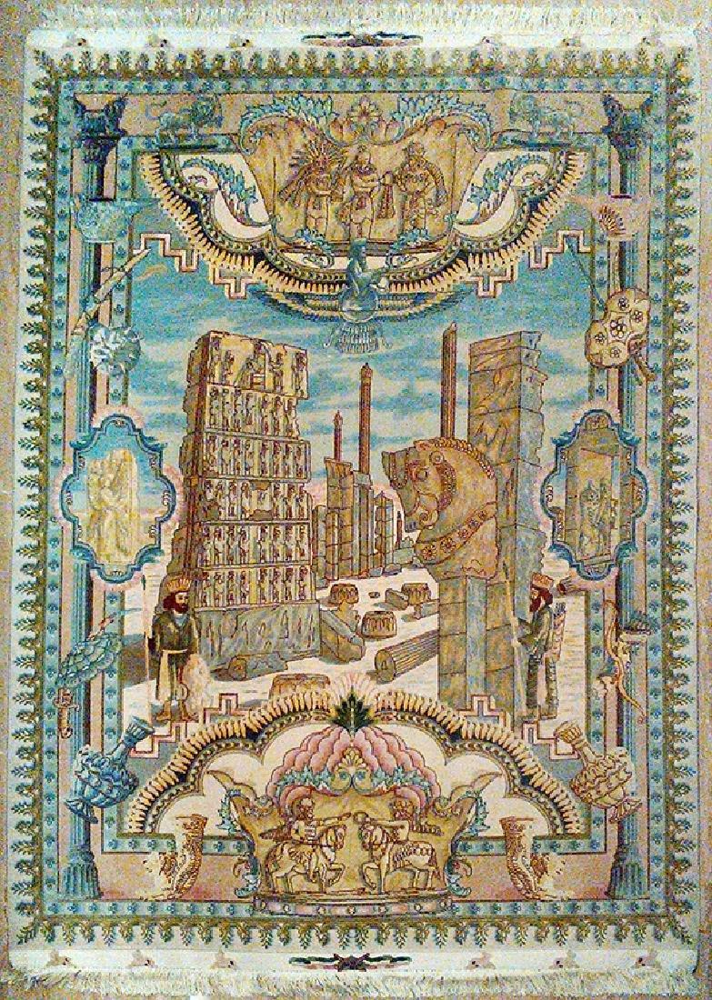 """Persepolis Scene"" Persian Pictorial Rug from Tabriz"