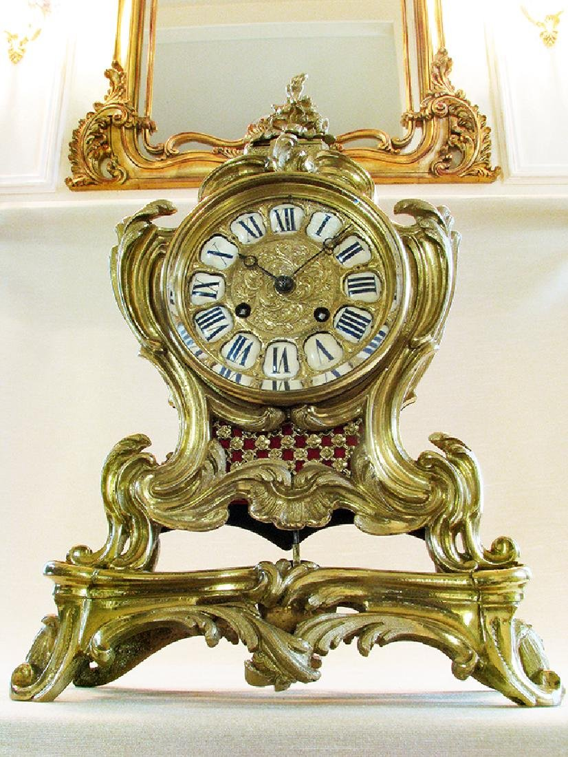 19th C. French Polished Bronze Rococo Mental Clock - 10