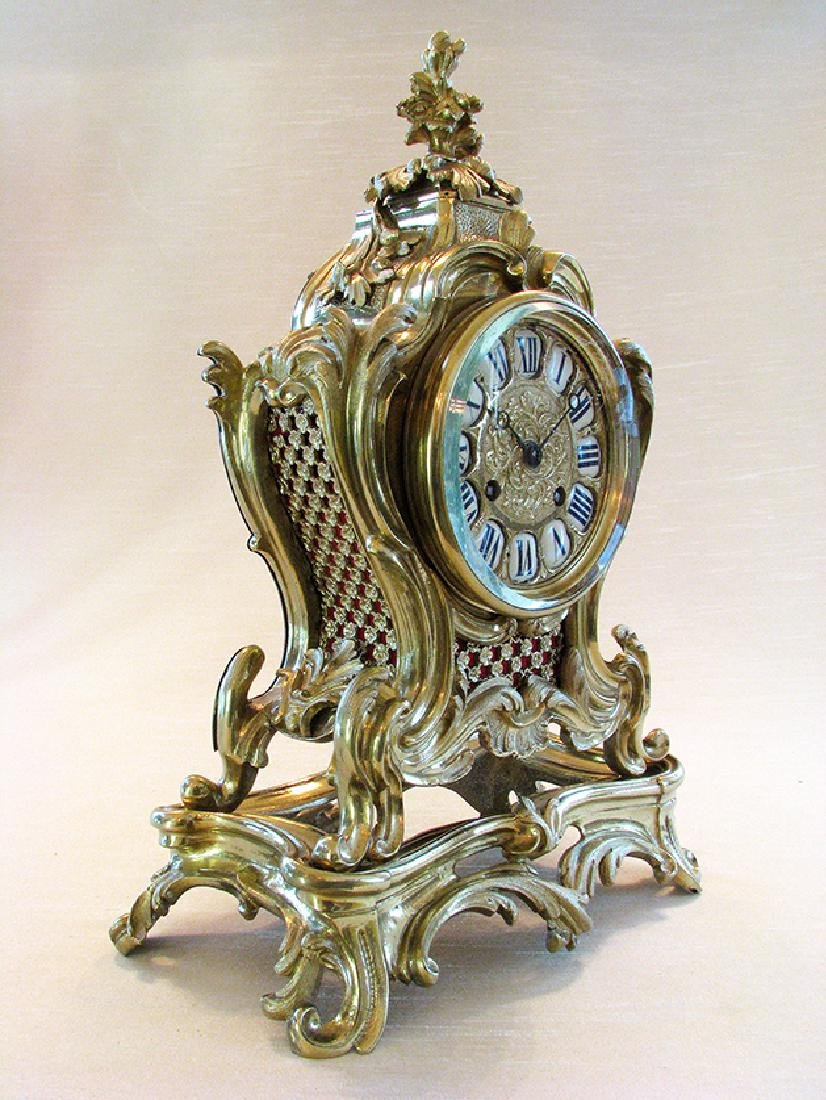 19th C. French Polished Bronze Rococo Mental Clock - 2
