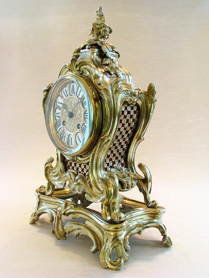 19th C. French Polished Bronze Rococo Mental Clock - 3