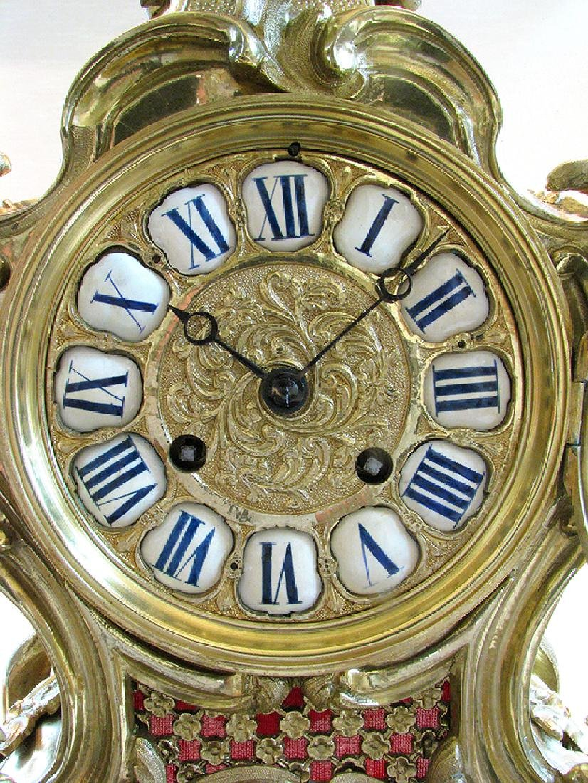 19th C. French Polished Bronze Rococo Mental Clock - 4