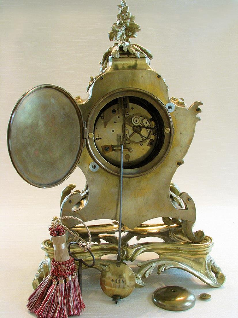 19th C. French Polished Bronze Rococo Mental Clock - 5