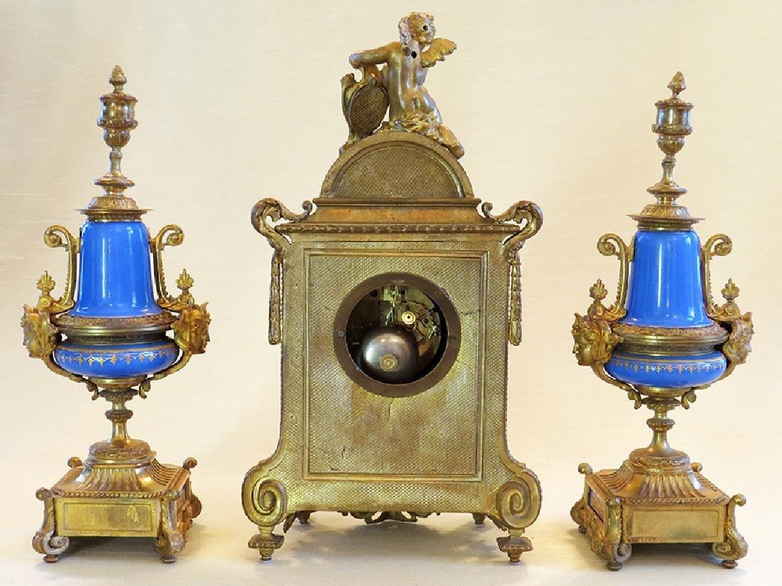 19th C. Sevres Porcelain and Dore' Garniture Clock Set - 2