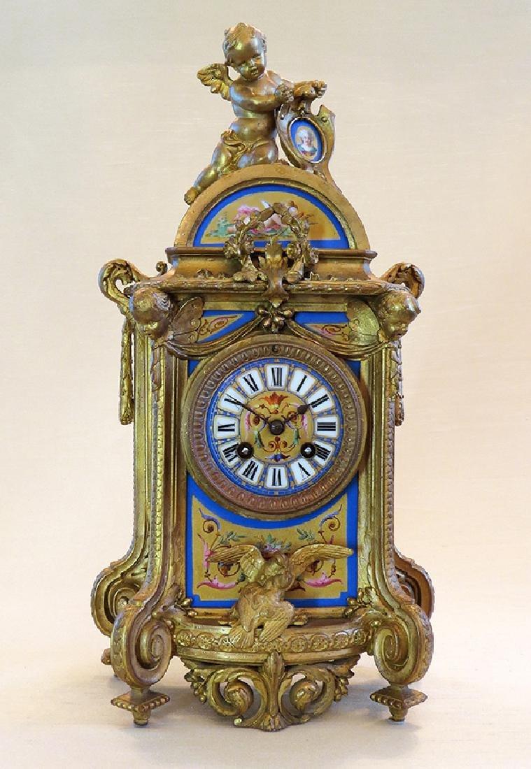 19th C. Sevres Porcelain and Dore' Garniture Clock Set - 3