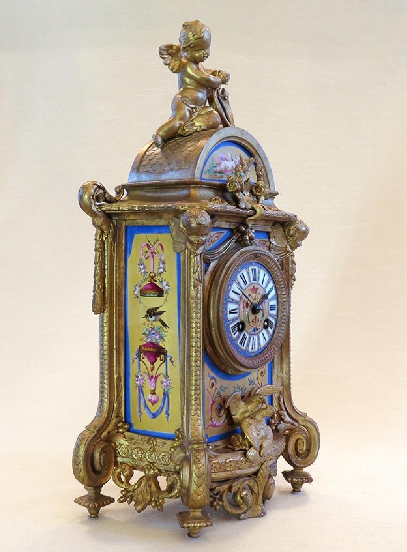 19th C. Sevres Porcelain and Dore' Garniture Clock Set - 4