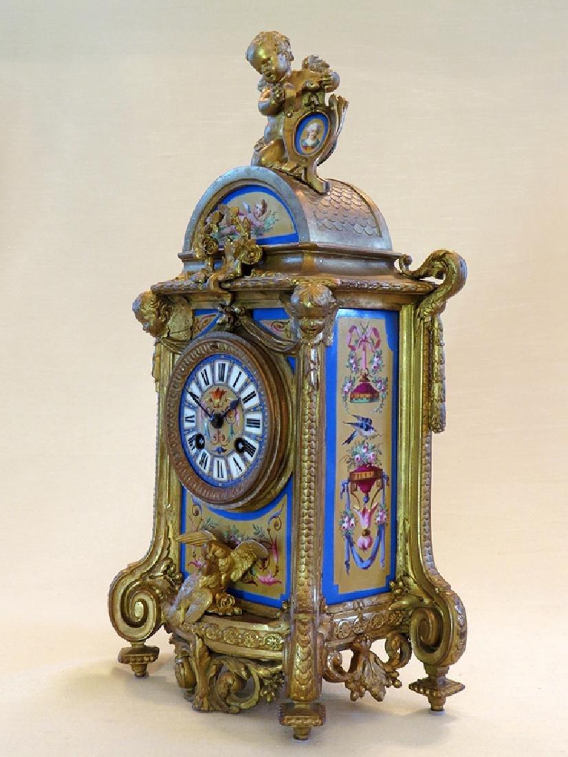 19th C. Sevres Porcelain and Dore' Garniture Clock Set - 5