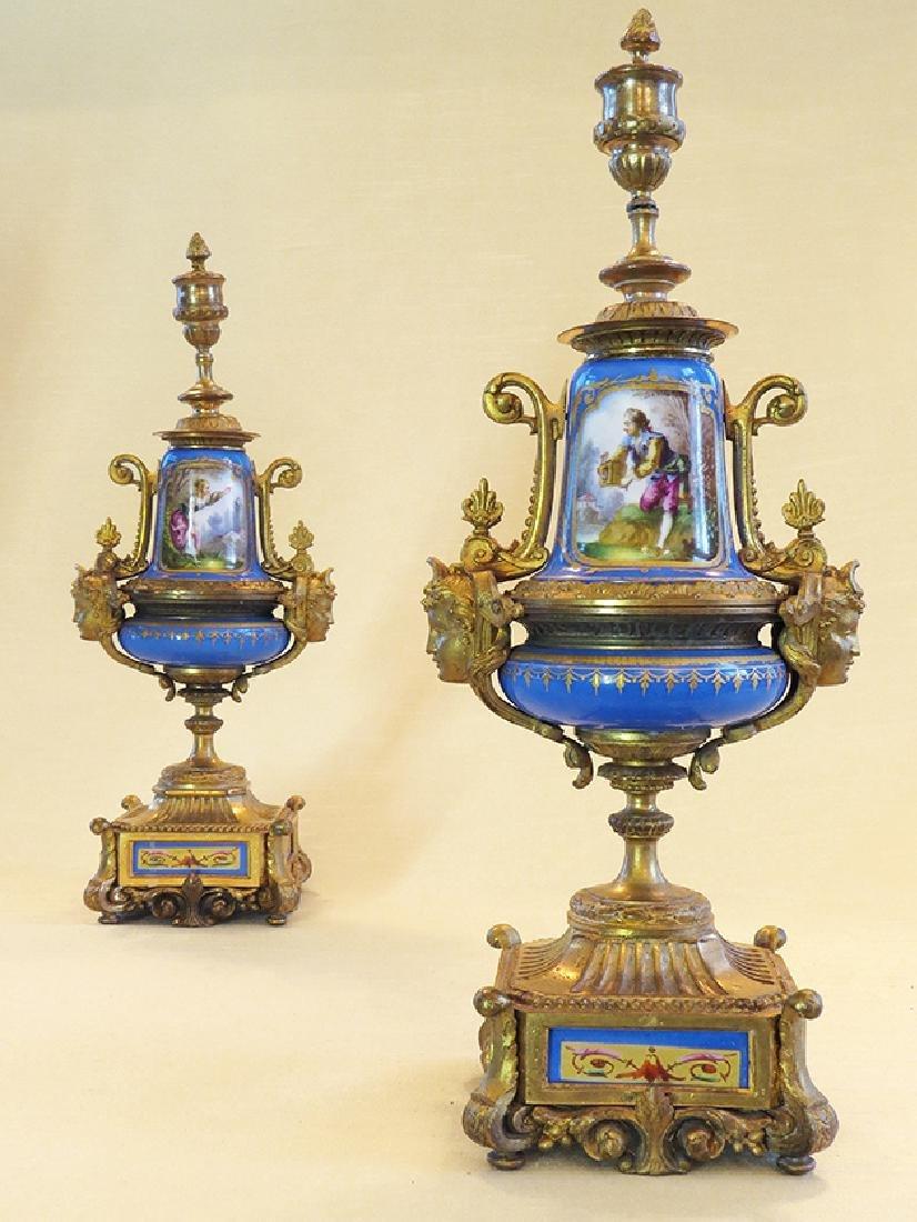 19th C. Sevres Porcelain and Dore' Garniture Clock Set - 8