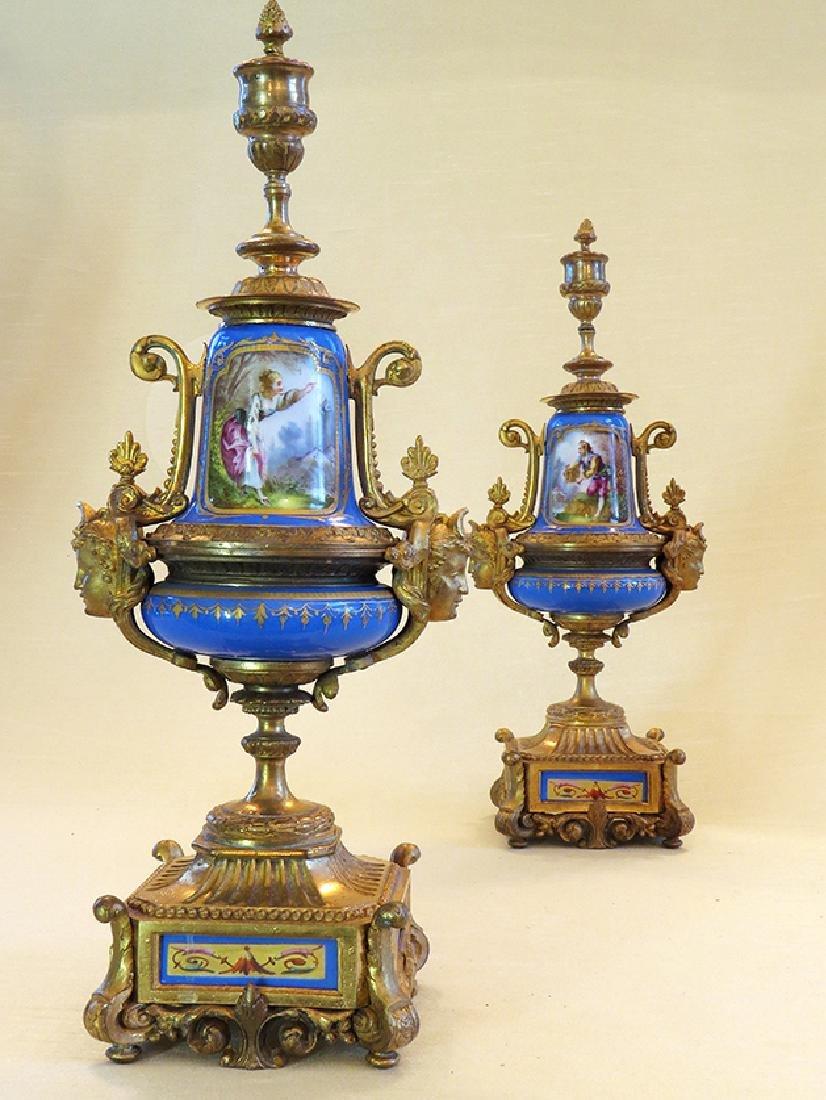 19th C. Sevres Porcelain and Dore' Garniture Clock Set - 9
