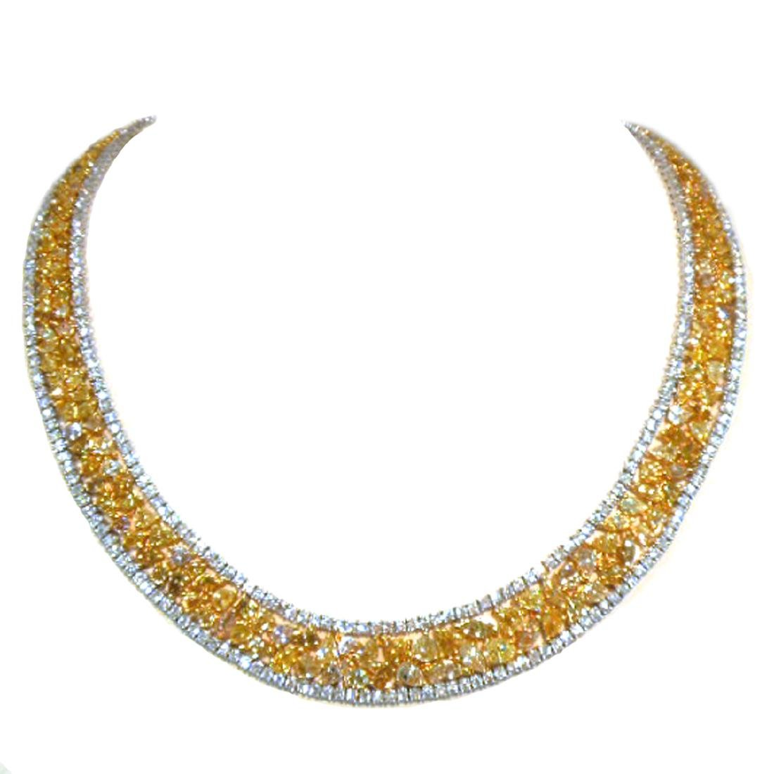 Necklace set with 44.50ct yellow and white diamond