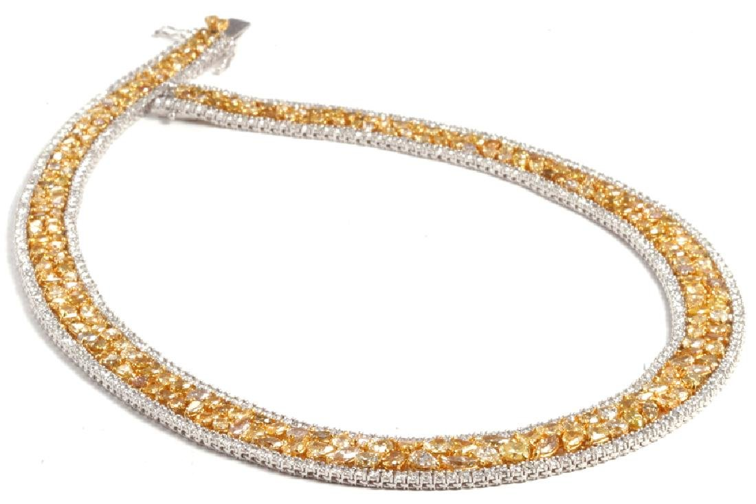 Necklace set with 44.50ct yellow and white diamond - 2